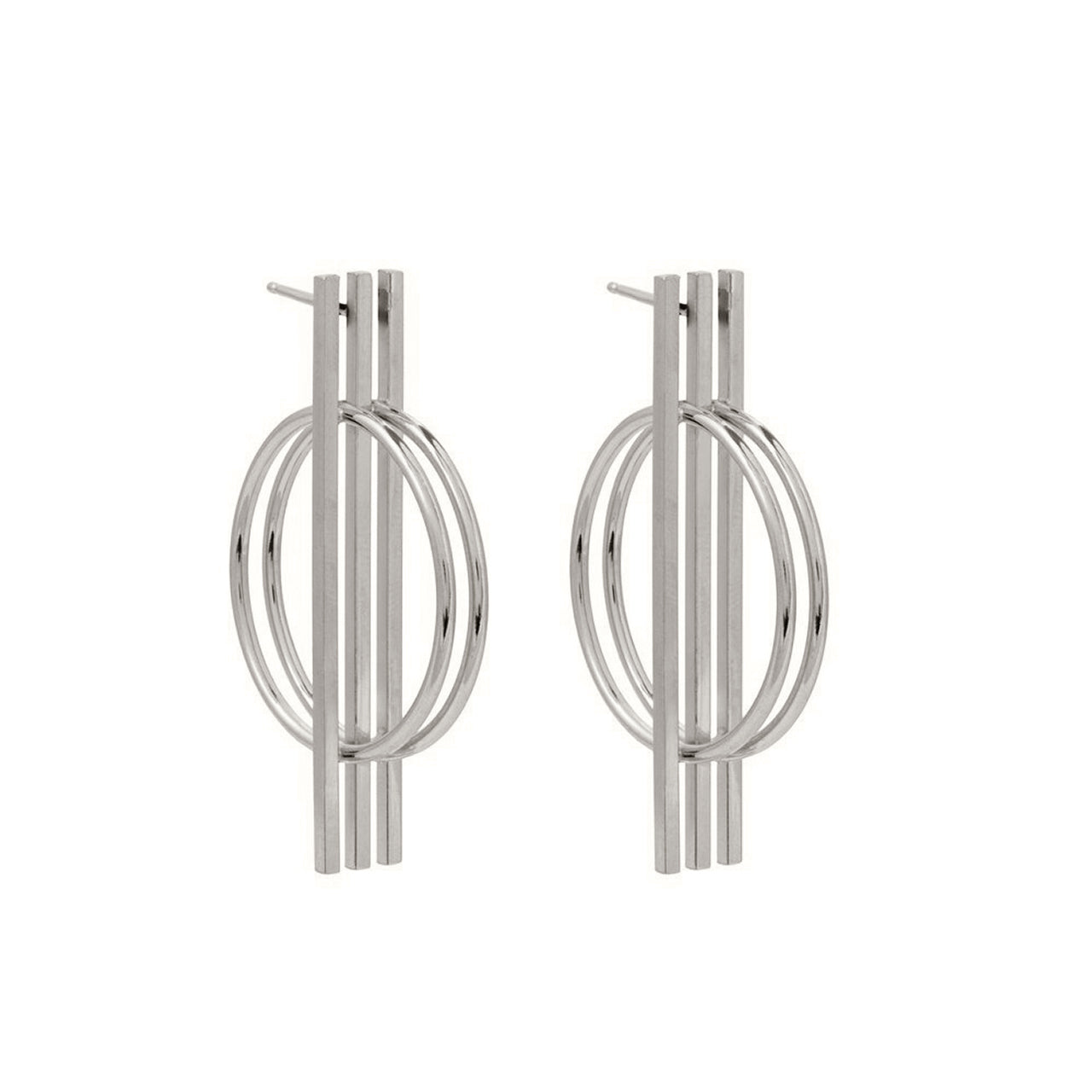 silver graphic statement earrings