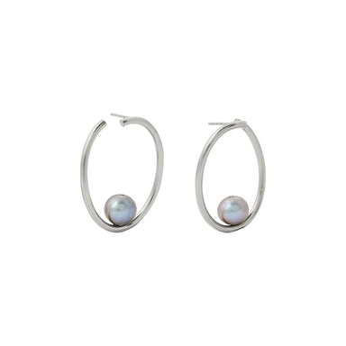 silver large twist pearl hoops