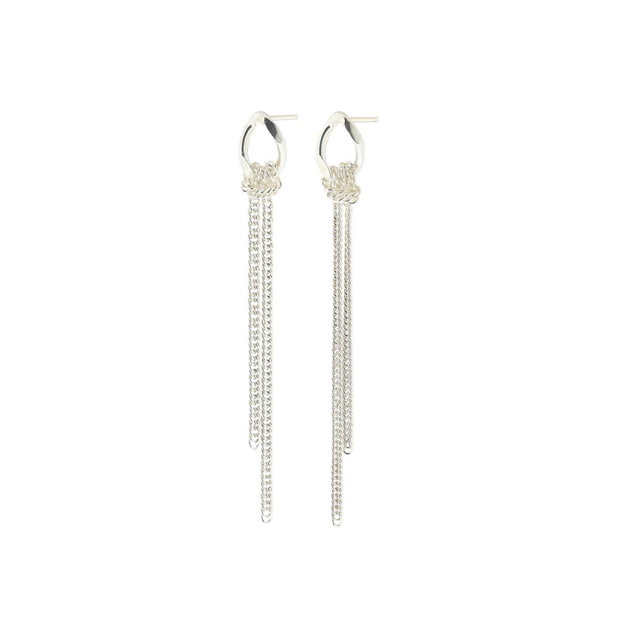 silver long flex post earrings