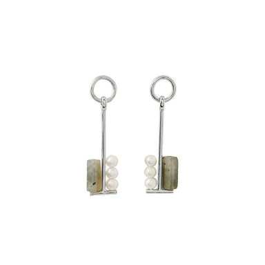 silver long labradorite earrings