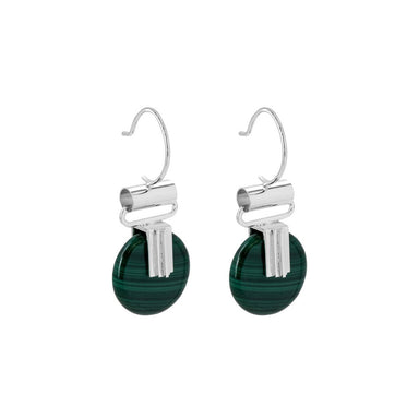 silver malachite pendant hook earrings