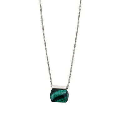 silver malachite pendant necklace
