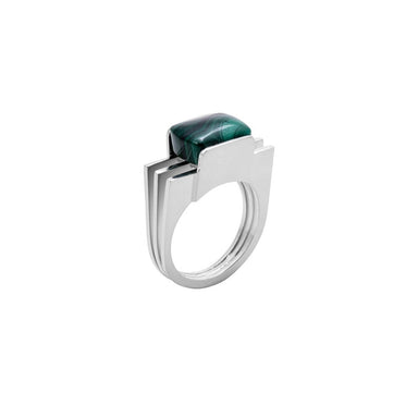 silver malachite statement ring