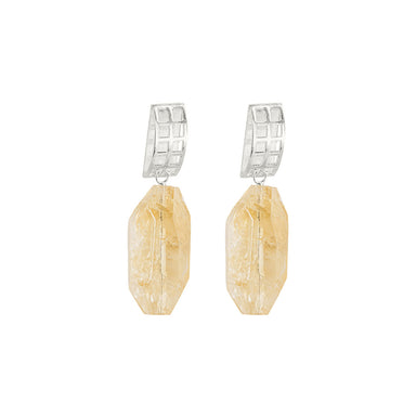 silver open grid citrine earrings