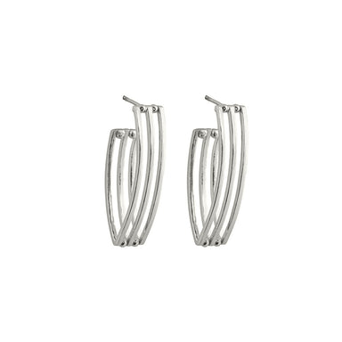 silver open grid hoop earrings