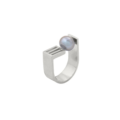 silver open grid pearl ring