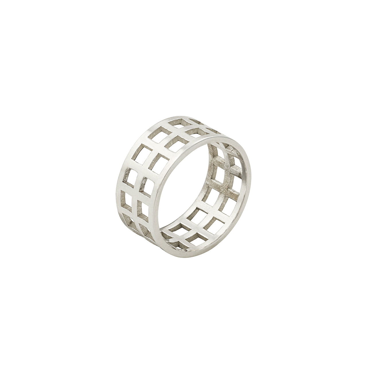 silver open grid ring