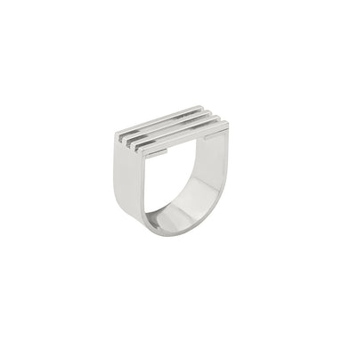 silver open grid u shape ring