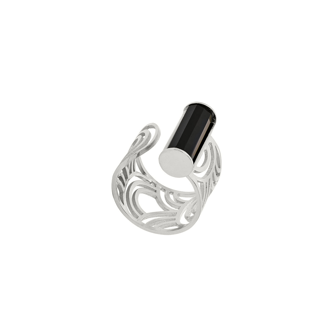 silver open onyx arched pattern ring