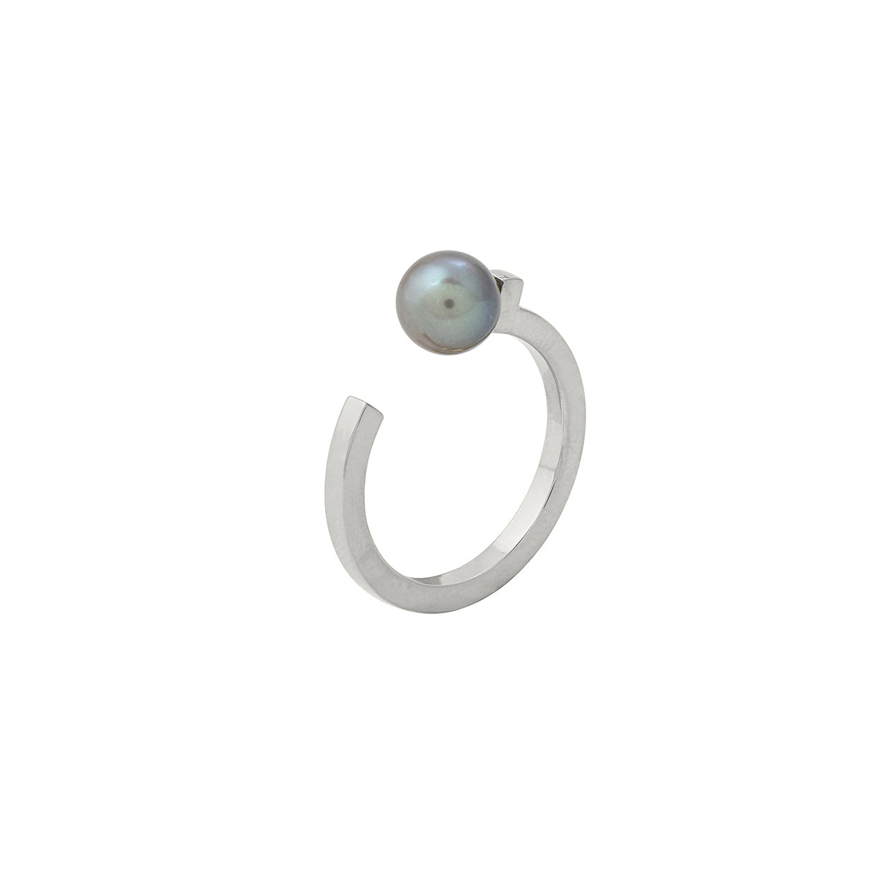 silver open pearl ring