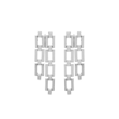 silver rectangular link earrings