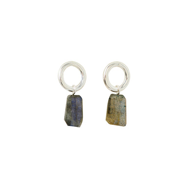 silver round labradorite stud earrings