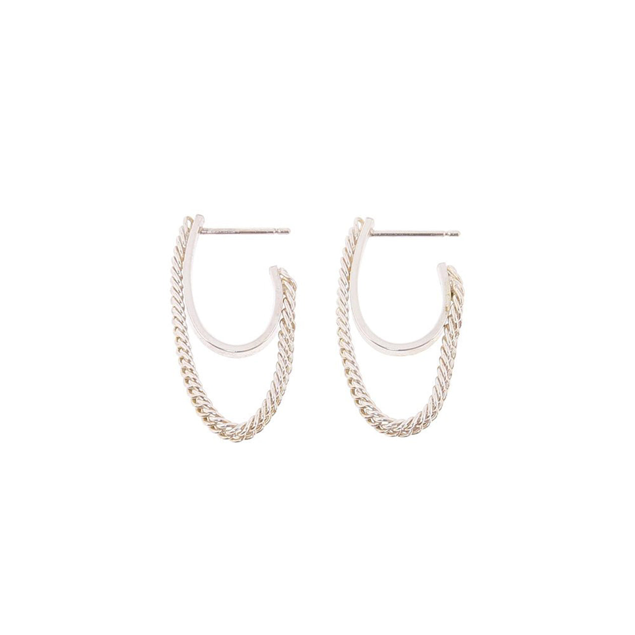 silver semi flex hoop earrings