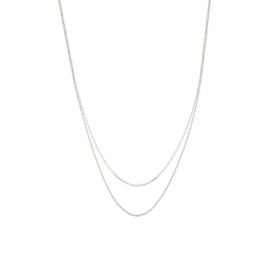 silver simple layered duo necklace