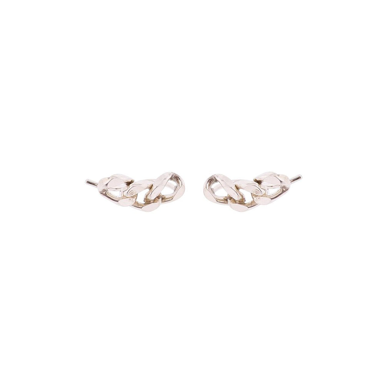silver small post link earrings