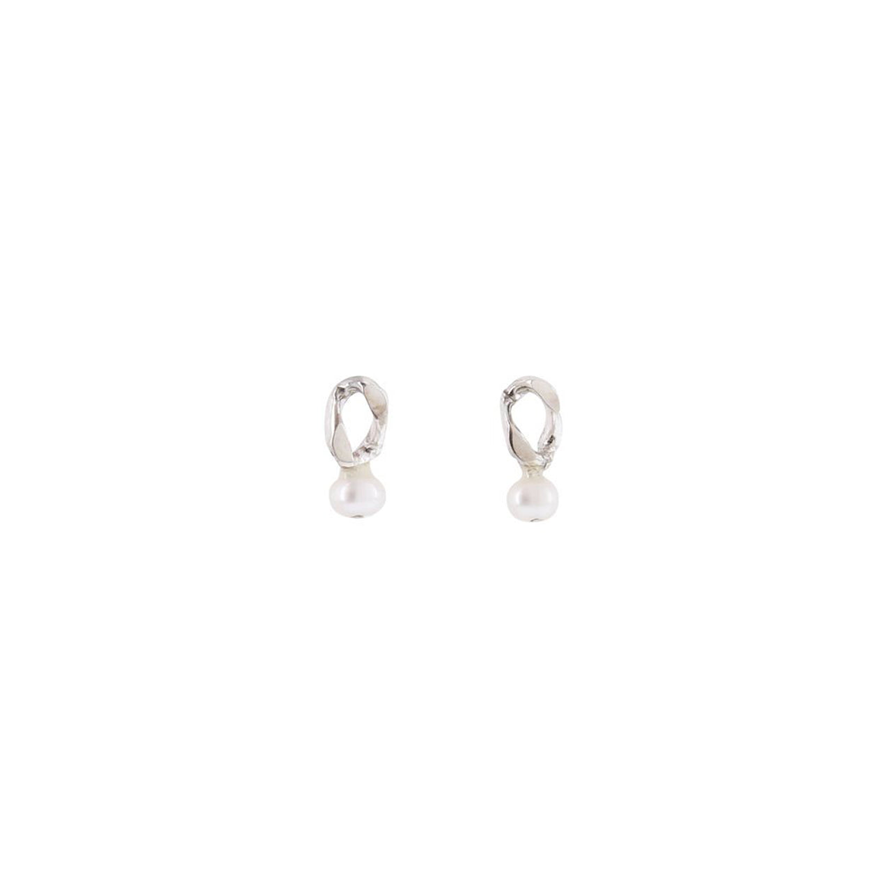 silver small post pearl earrings