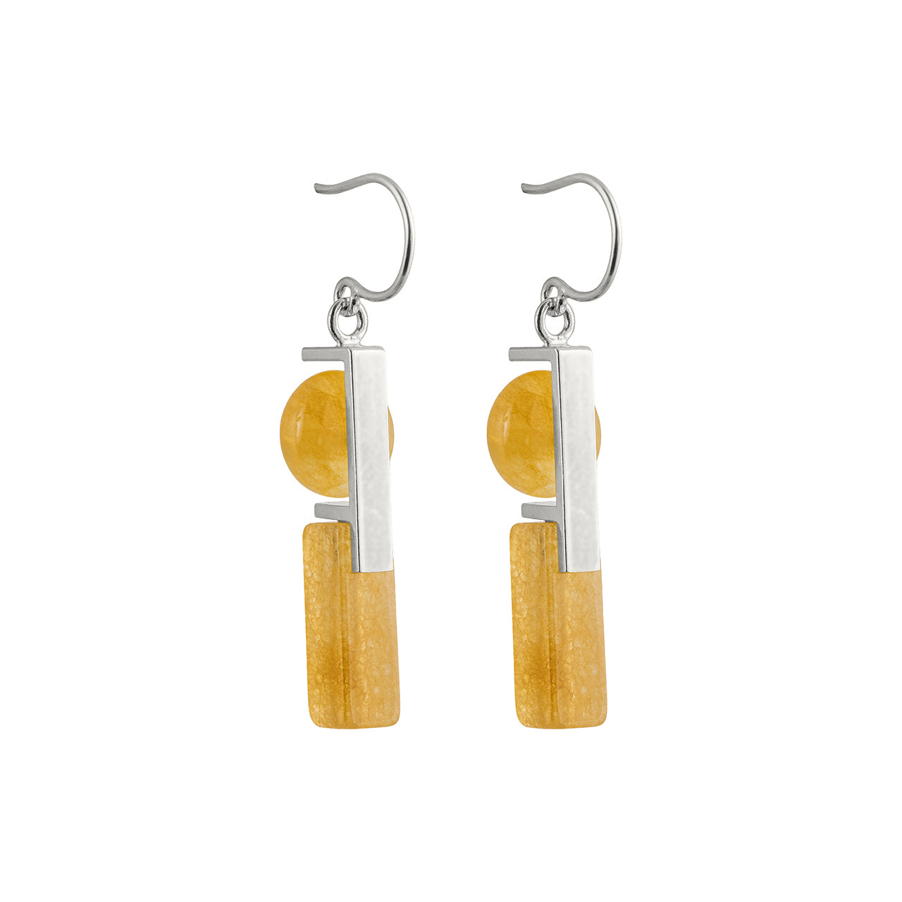 silver stacked aragonite earrings