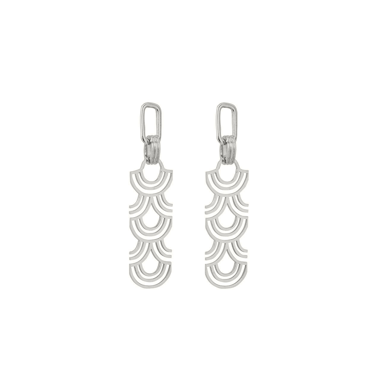 silver statement arched pattern earrings