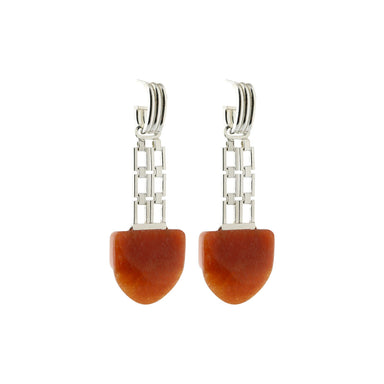 silver statement aventurine earrings