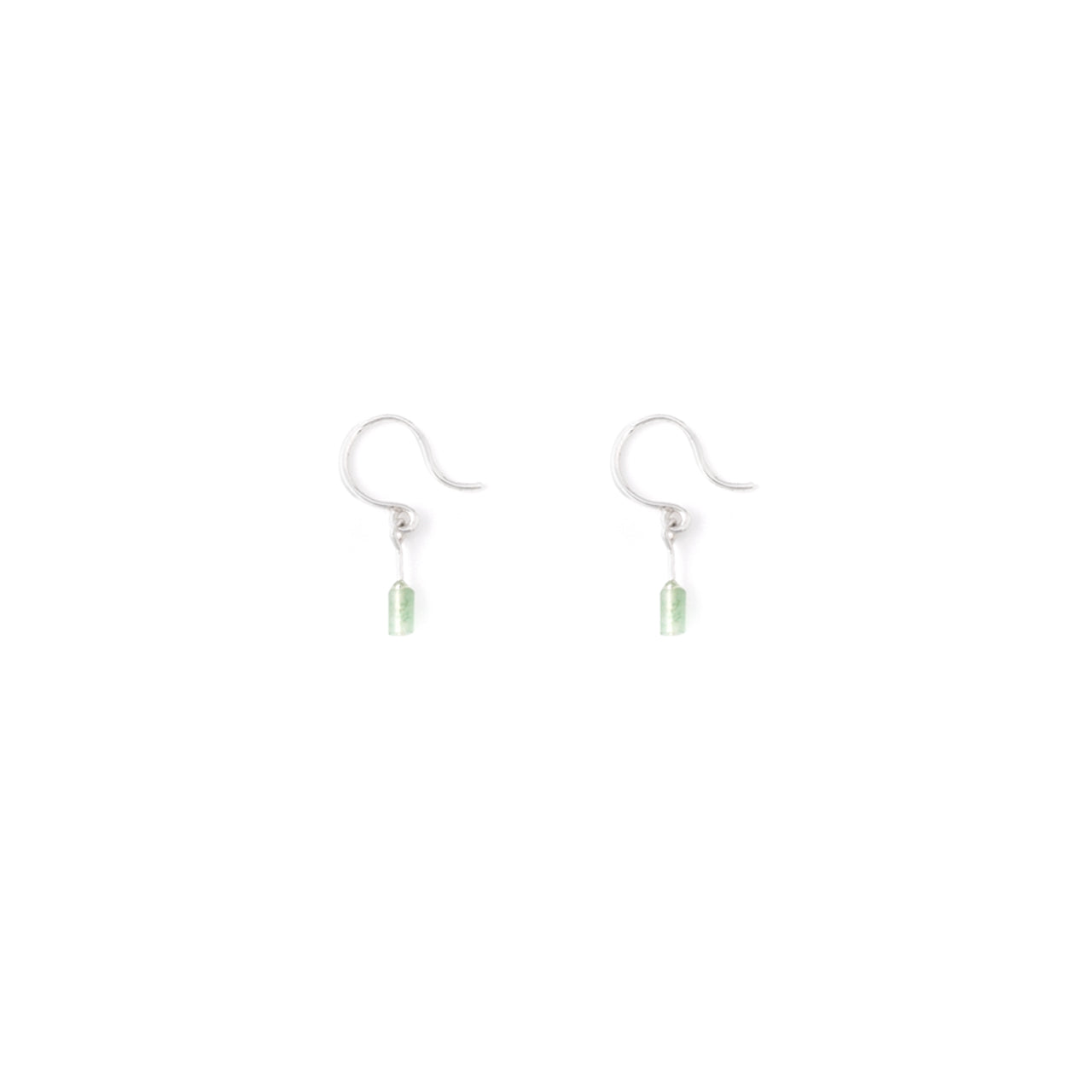 silver subtle aventurine hook earrings