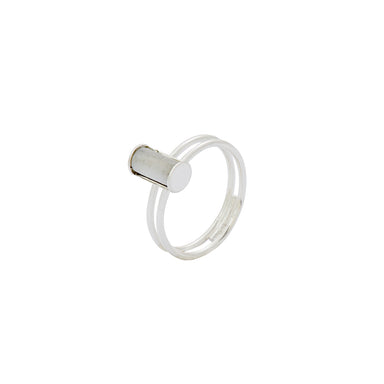 silver subtle double mother of pearl ring