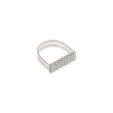 silver textured u-shape ring