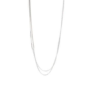 silver two looped chain necklace