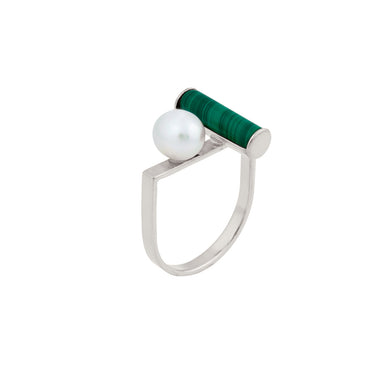 silver u-shape pearl and malachite ring