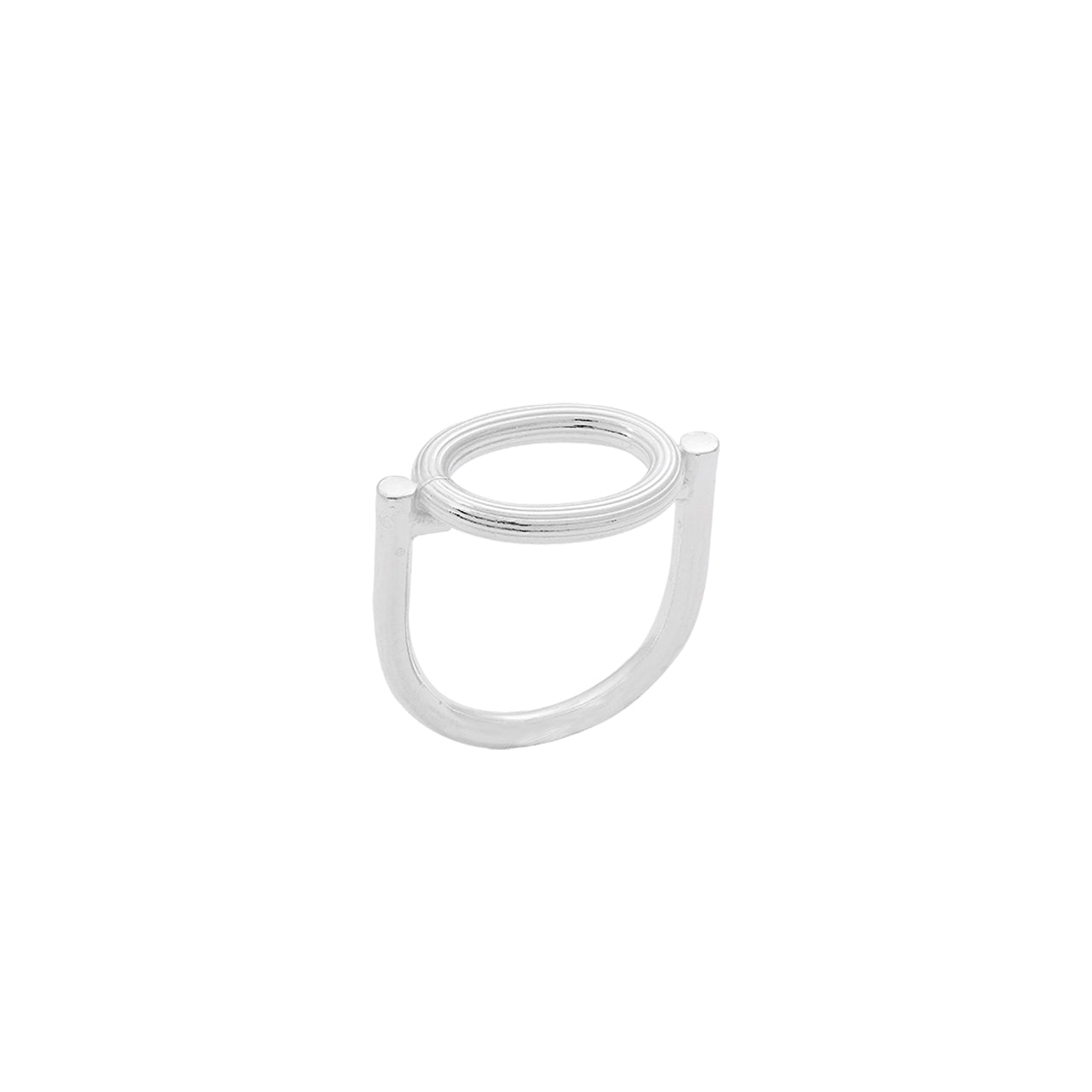 silver u-shaped engraved oval element ring