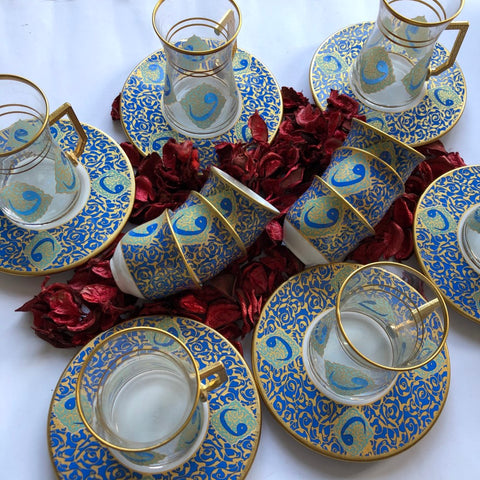 Light Blue Full Coffee & Tea Ottoman Serving Set - A04