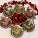 Full Tea Cups and Saucers with spoons - Ottoman Traditional Design - A05