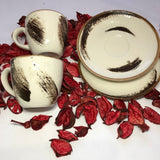 Two Coffe Cups and Saucers Set - Fancy Design - A06
