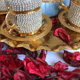 Golden Strass Coffee Ottoman Design Serving Set  - A09