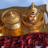 Golden Two Person Coffee Ottoman Design Serving Set - A16