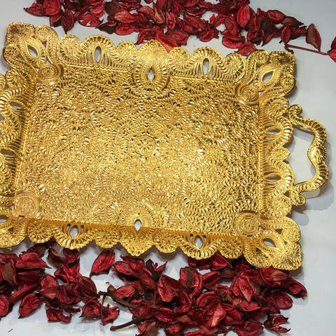 Golden Tray Ottoman Design for Coffee & Tea Serving - A17