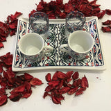 Two Coffee Cups, Two Water Cups And Tray Set - A72
