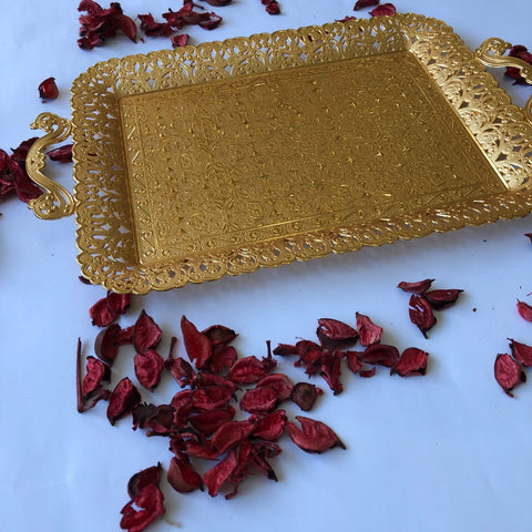 Golden Tray Ottoman Design for Coffee & Tea Serving - A83
