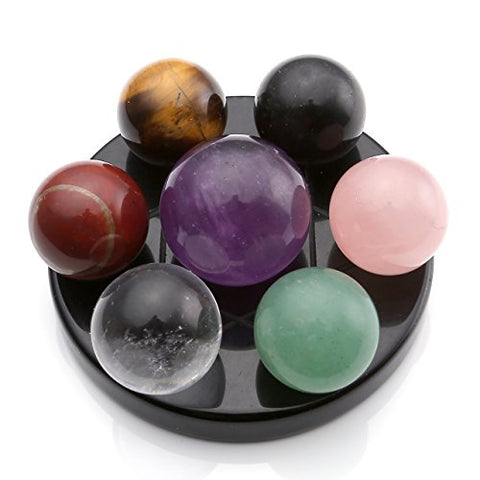 MANIFO 7 Chakra Gemstone Ball Sphere Set on Black Obsidian Hexagram Stand Reiki Healing Crystals Authentic Stress Free Relaxation Fengshui Seven-Star Appetizer Plate