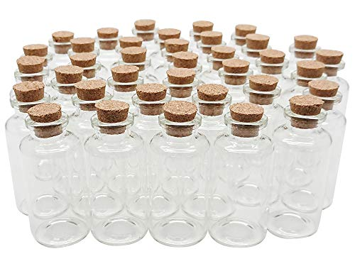 Axe Sickle 20 mL Cork Stopper Glass Bottles Mini Clear Glass Bottles 36 Pcs.