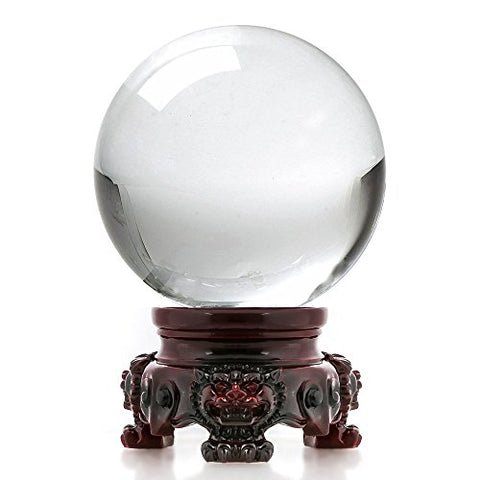 3 inch Clear Crystal Ball with Redwood Lion Stand