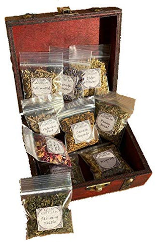 Herb Witchcraft Kit for Making Potions ~ Wiccan herb Starter kit with Wooden Box ~ Witch Apothecary Herbs ~ Magick Ritual Herbs in Bulk (Small)
