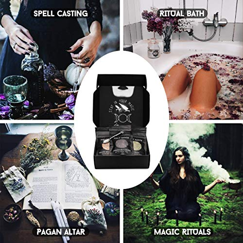 Witchcraft Supplies Herbs for Witchcraft-Dried Herb Kit for Wicca, Pagan and Wiccan Rituals, Altar Supplies, Magic Spells and more-20 Witch Herbs with Crystal Spoon