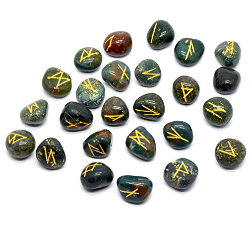SHIVANSH CREATIONS Healing Witchcraft Crystals Viking Rune Hand Casting Kit Chakra Healing River Stones Reiki Crystals Gemstones Crystals Occult Decor Pagan Decor Wiccan Rune Set (Blood Stone)
