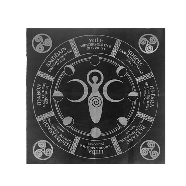 Flannel Tarot Tablecloth with Triple Moon Pentagram