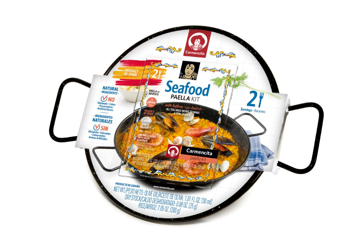 Paella Kit Box Seafood With Enameled Paella Pan by Carmencita  - 2 Portions