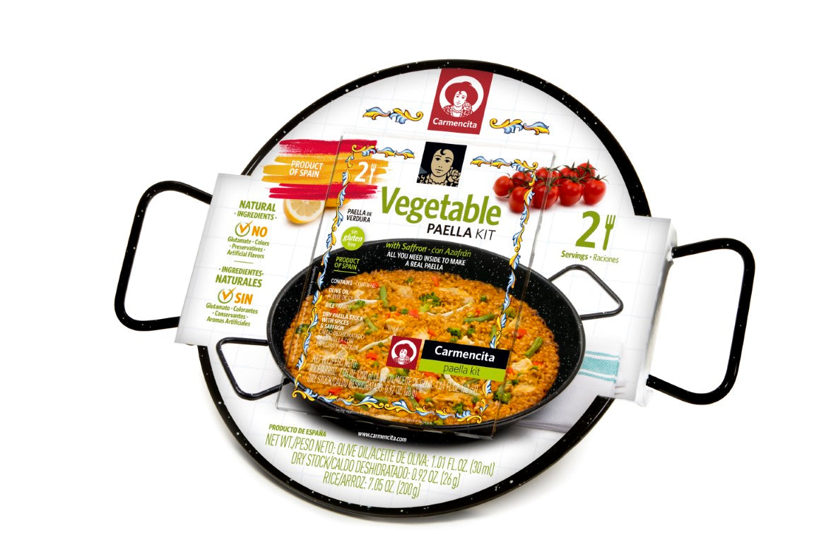Vegetable Paella Kit with enameled paella pan by Carmencita - 2 Portions