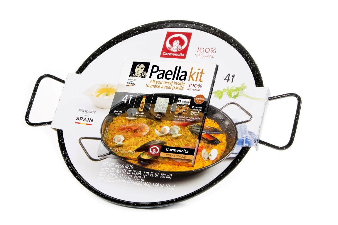 Paella Kit Box Seafood With Enameled Paella Pan by Carmencita  - 4 Portions