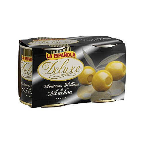 Deluxe Green Olives Stuffed with Anchovy by La Espanola  - Pack of 2
