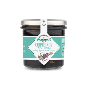 Baby Squids in ink sauce by Agromar  - 8 oz (230 g) glass jar