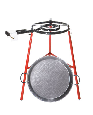 Paella Pan Kit w/ Gas Burner - Polished Steel EcoSet - 18-Inch (46cm) / 12 servings